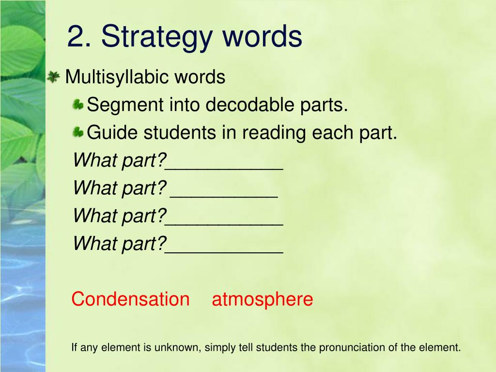 2. Strategy words