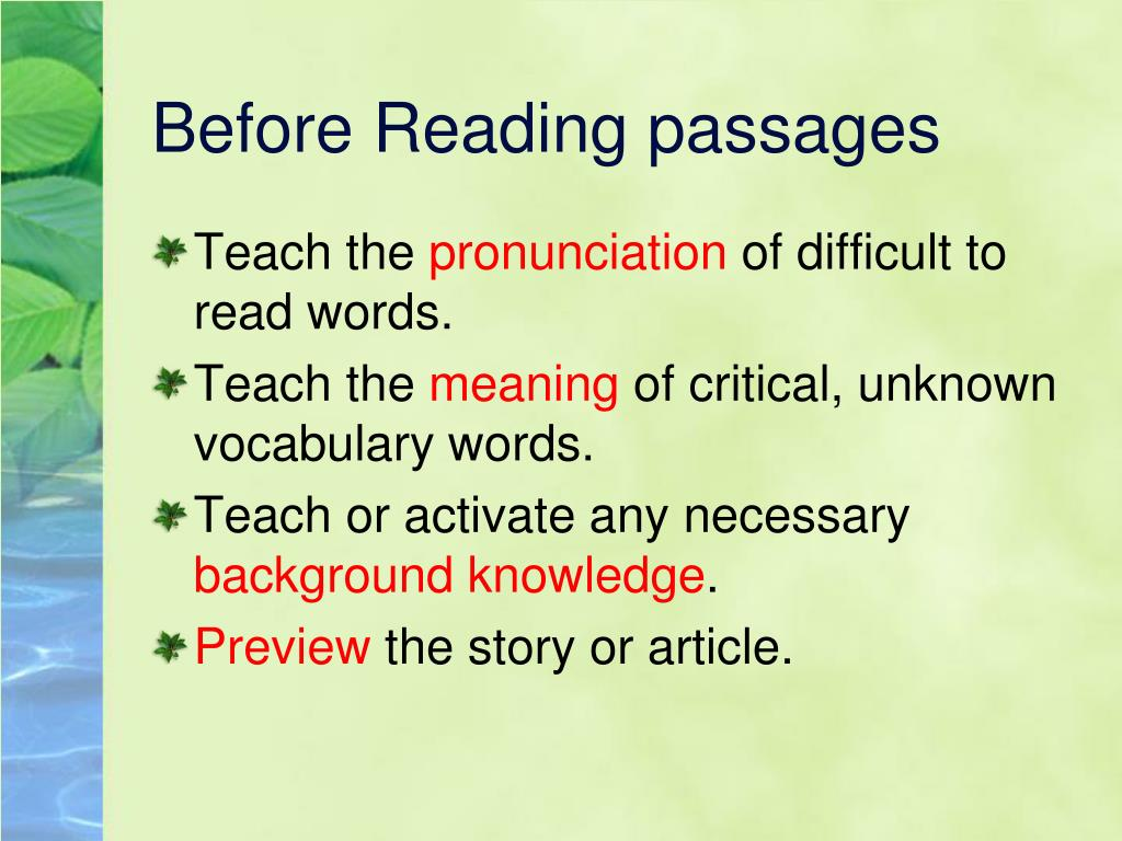 Before Reading passages