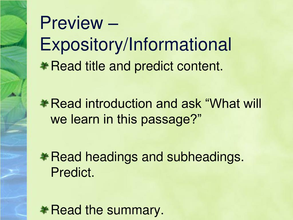 Preview – Expository/Informational