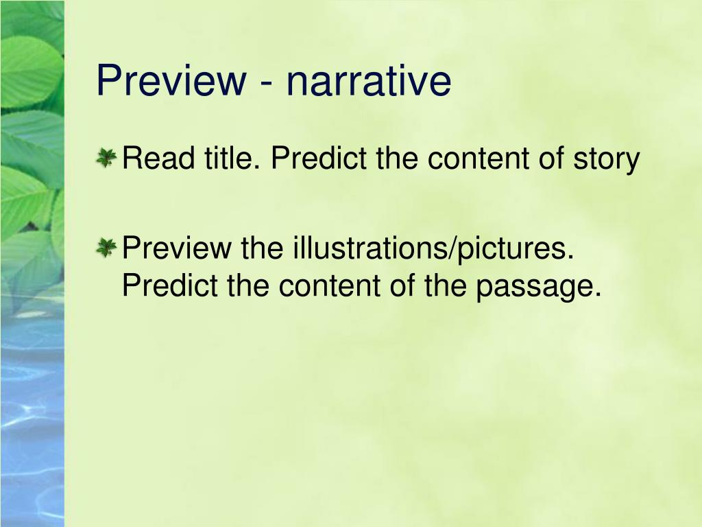 Preview - narrative