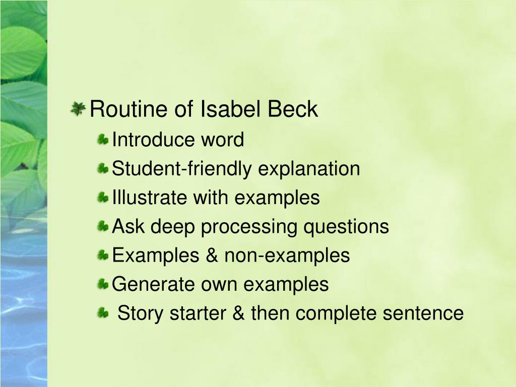 Routine of Isabel Beck