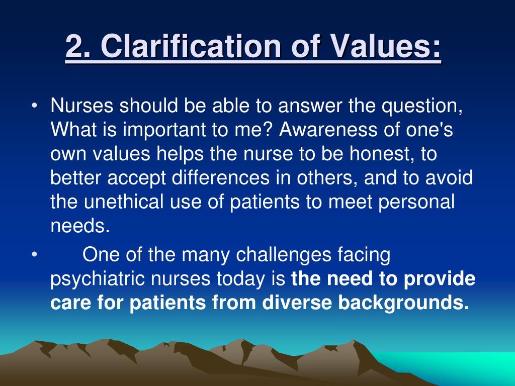 2. Clarification of Values: