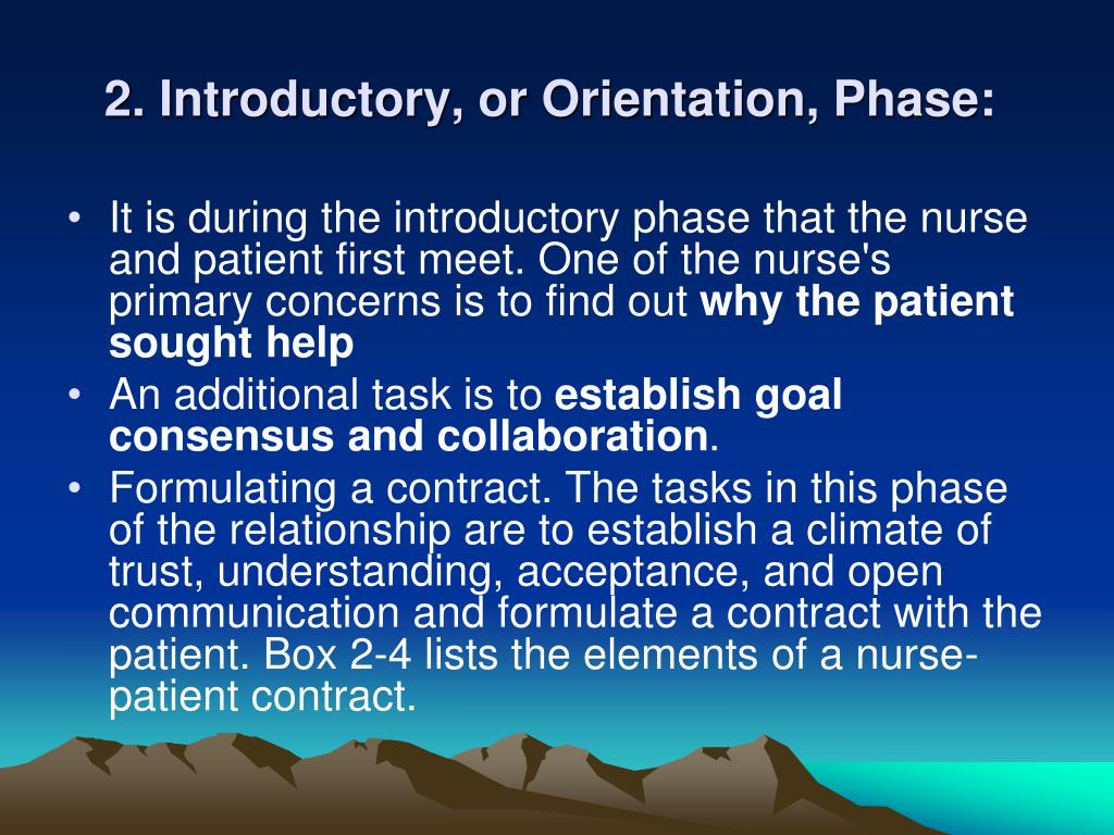 2. Introductory, or Orientation, Phase:
