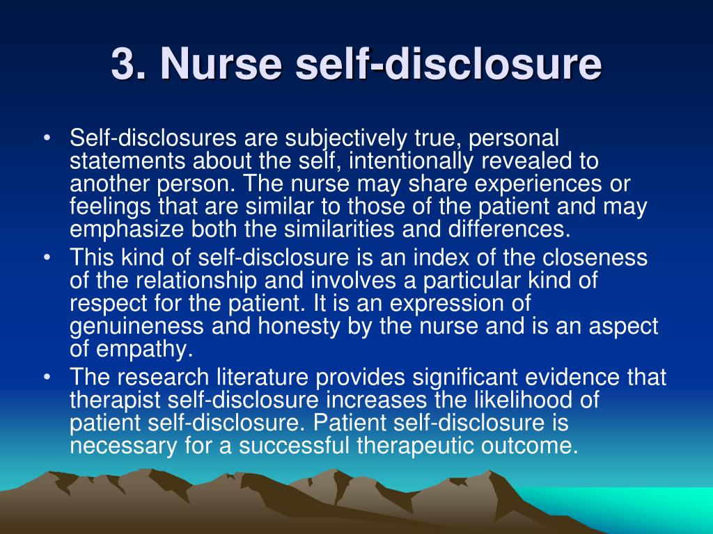 3. Nurse self-disclosure