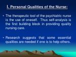 i personal qualities of the nurse
