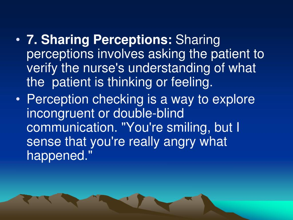 7. Sharing Perceptions:
