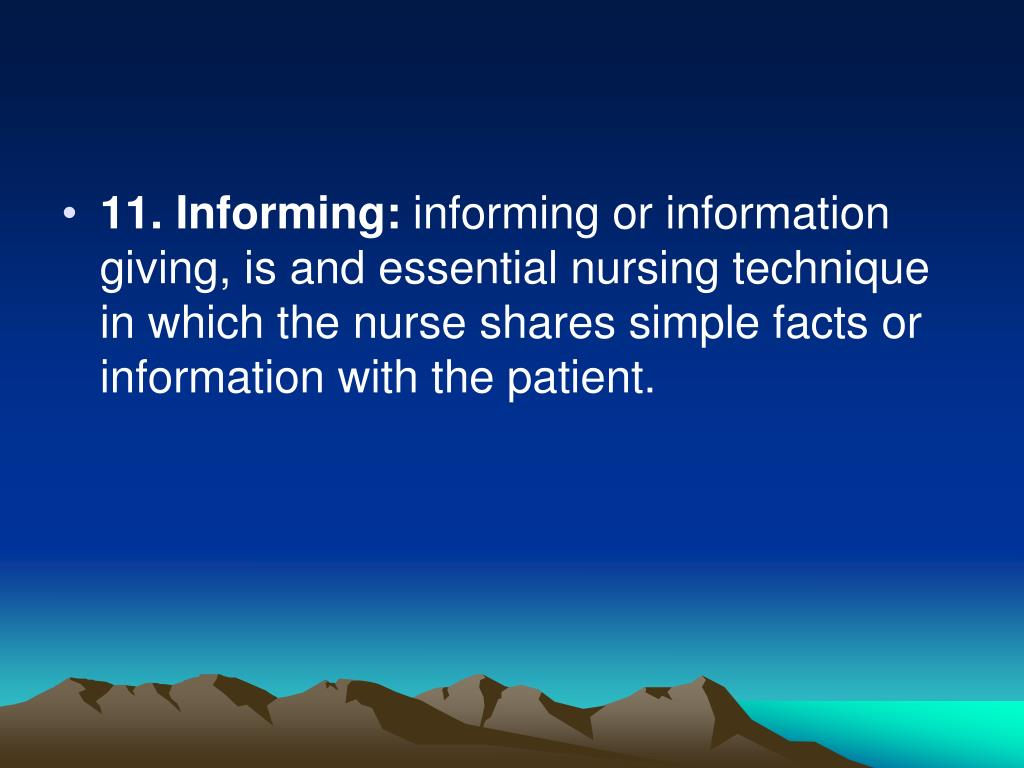 11. Informing:
