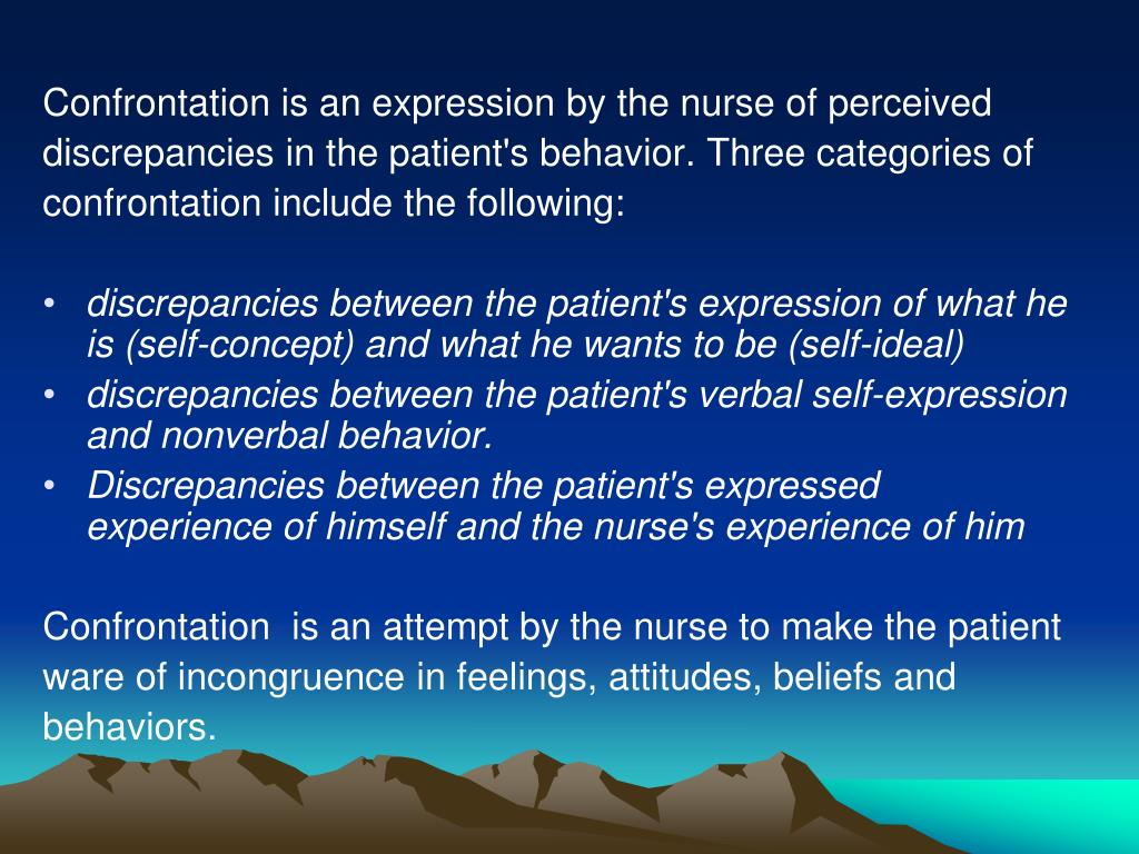 Confrontation is an expression by the nurse of perceived