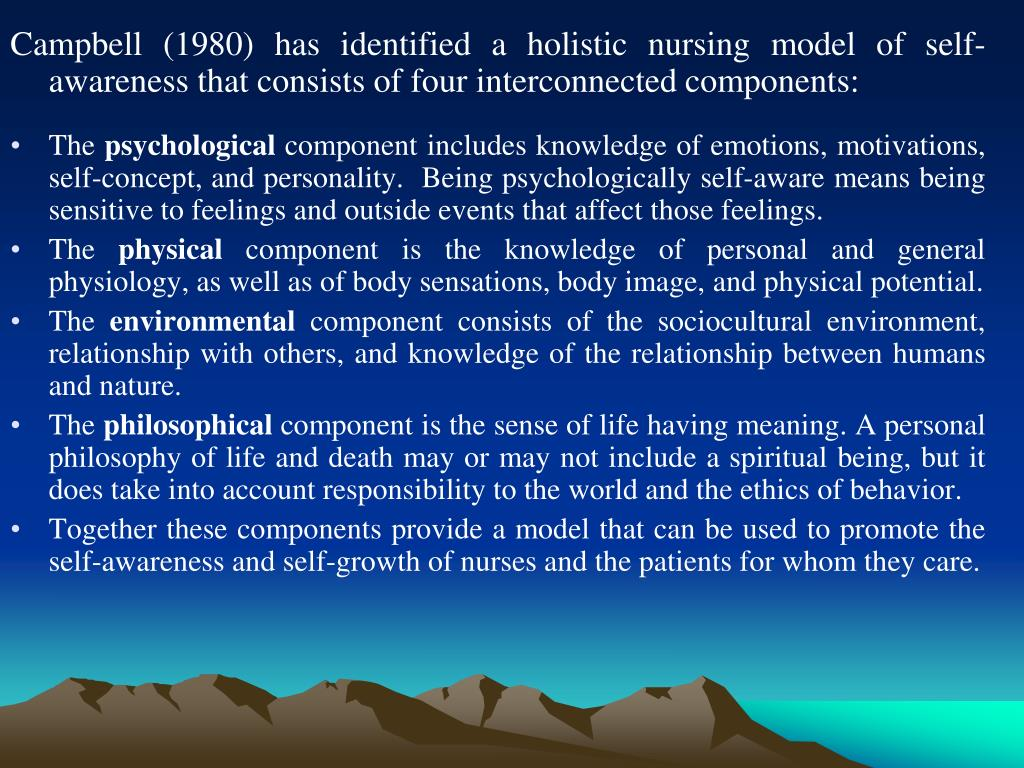 Campbell (1980) has identified a holistic nursing model of self-awareness that consists of four interconnected components: