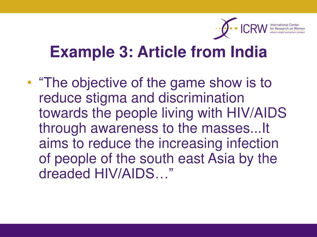 Example 3: Article from India