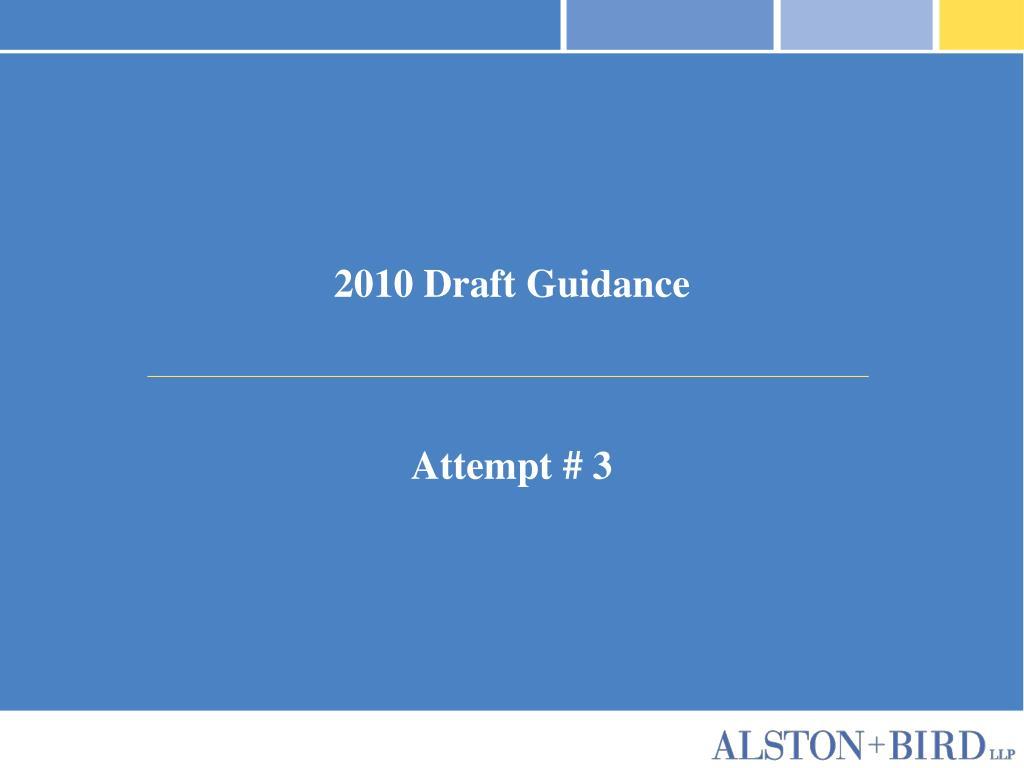 2010 Draft Guidance