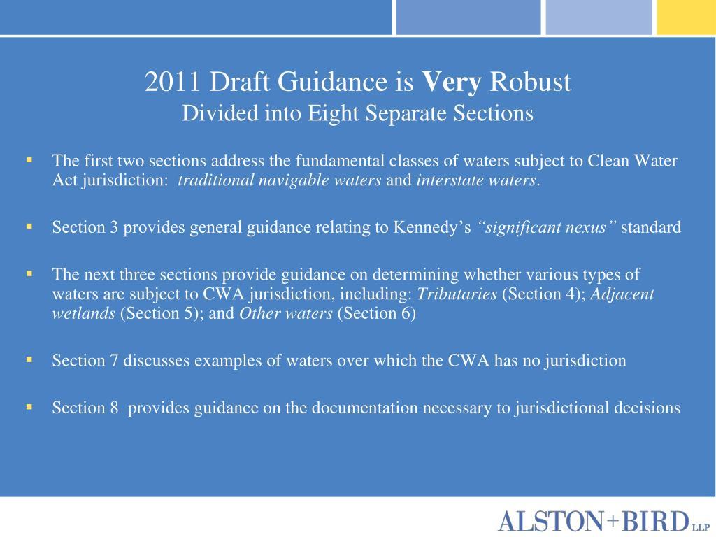 2011 Draft Guidance is