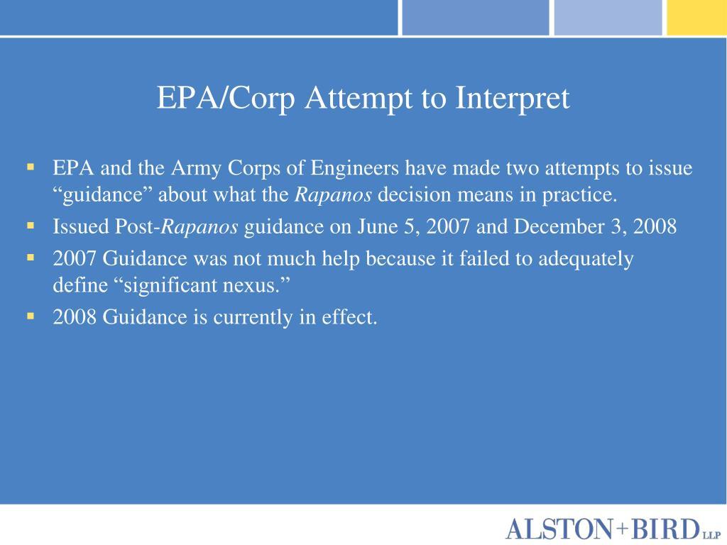 EPA/Corp Attempt to Interpret