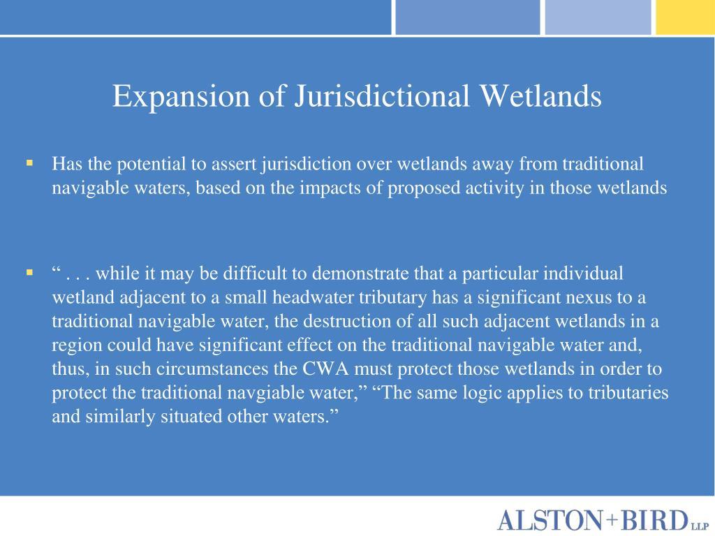 Expansion of Jurisdictional Wetlands