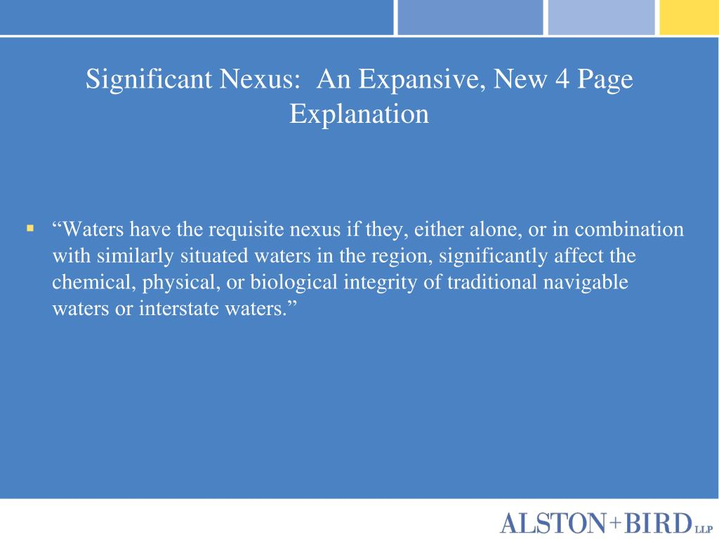 Significant Nexus:  An Expansive, New 4 Page Explanation