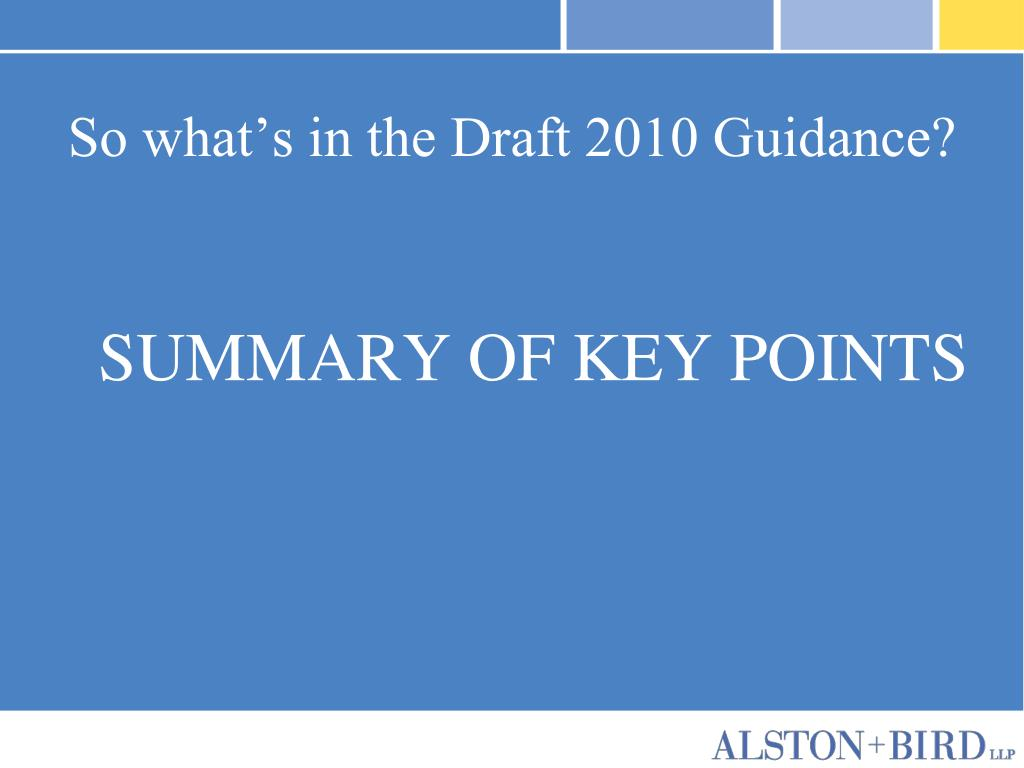 So what's in the Draft 2010 Guidance?