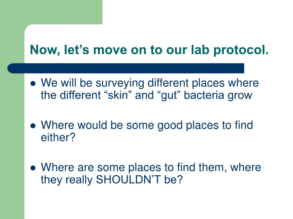 Now, let's move on to our lab protocol.