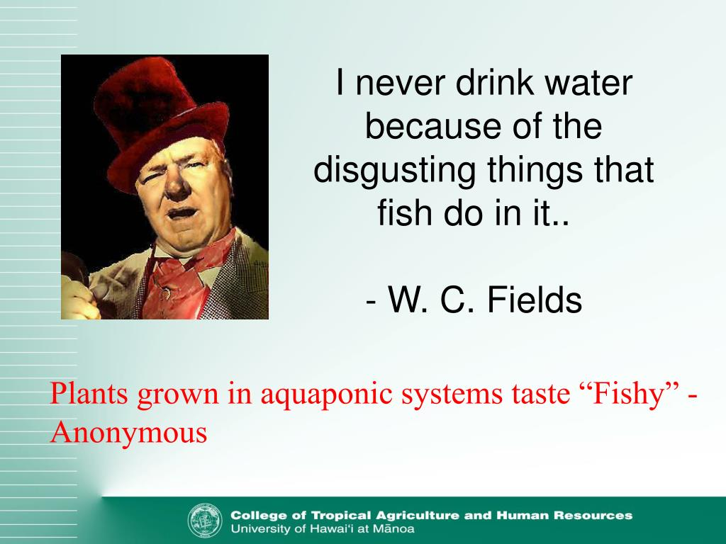 I never drink water because of the disgusting things that fish do in it..