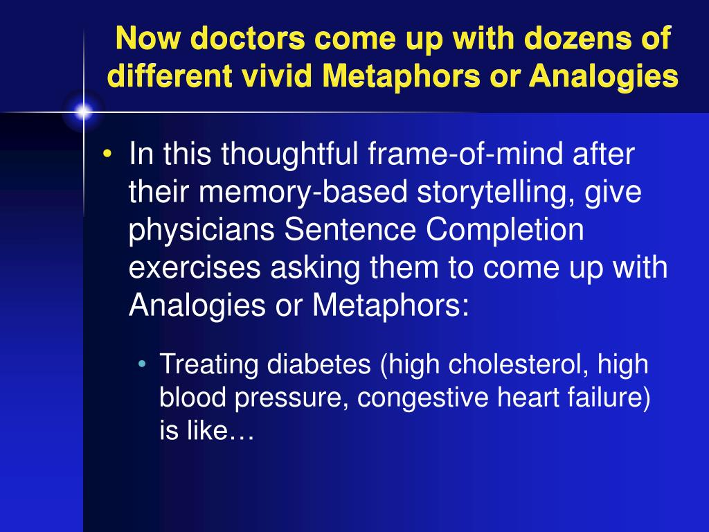 Now doctors come up with dozens of different vivid Metaphors or Analogies