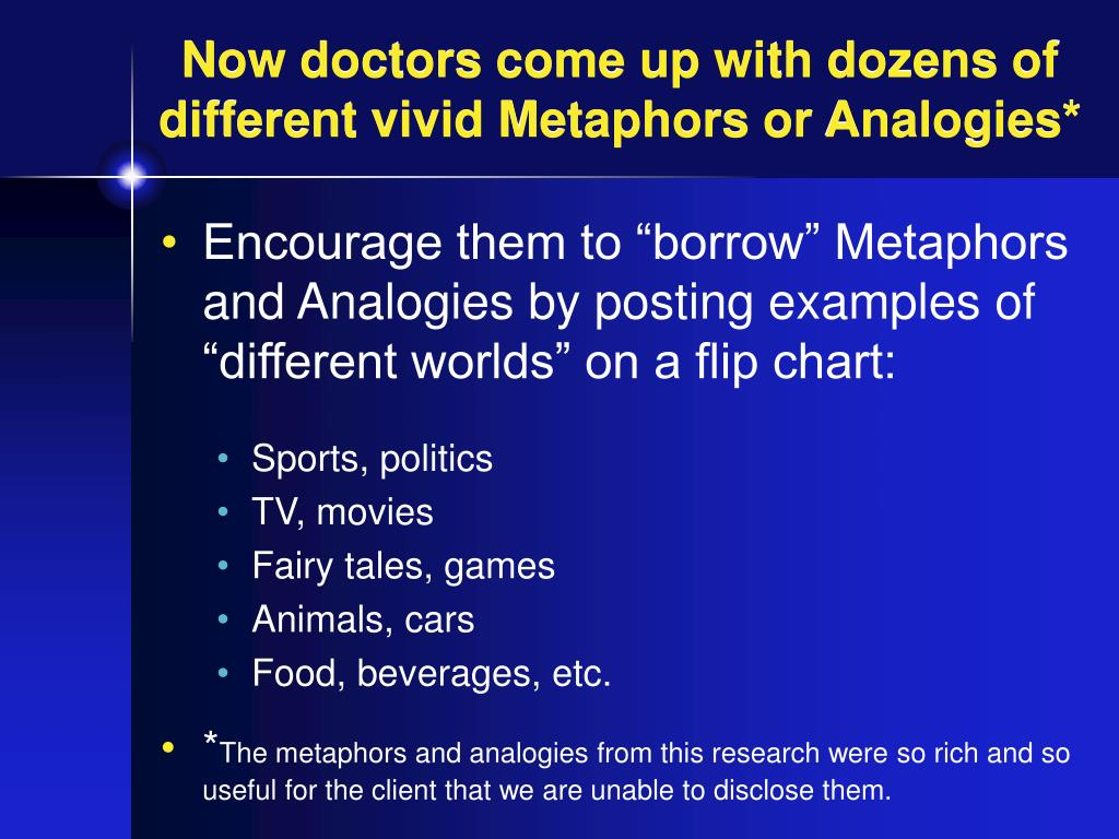 Now doctors come up with dozens of different vivid Metaphors or Analogies*