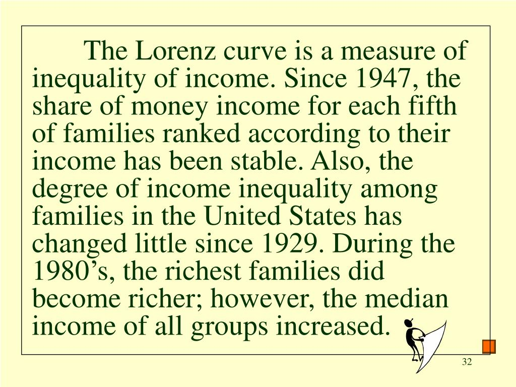 The Lorenz curve is a measure of inequality of income. Since 1947, the share of money income for each fifth of families ranked according to their income has been stable. Also, the degree of income inequality among families in the United States has changed little since 1929. During the 1980's, the richest families did become richer; however, the median income of all groups increased.