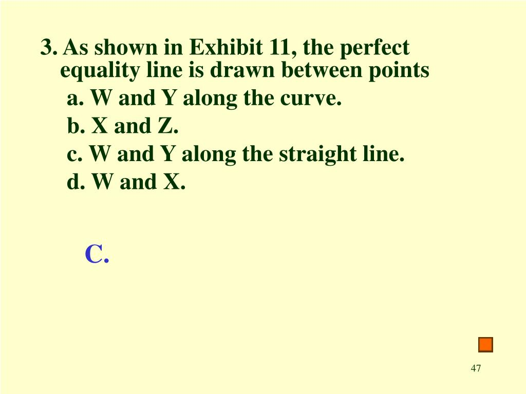 3. As shown in Exhibit 11, the perfect equality line is drawn between points