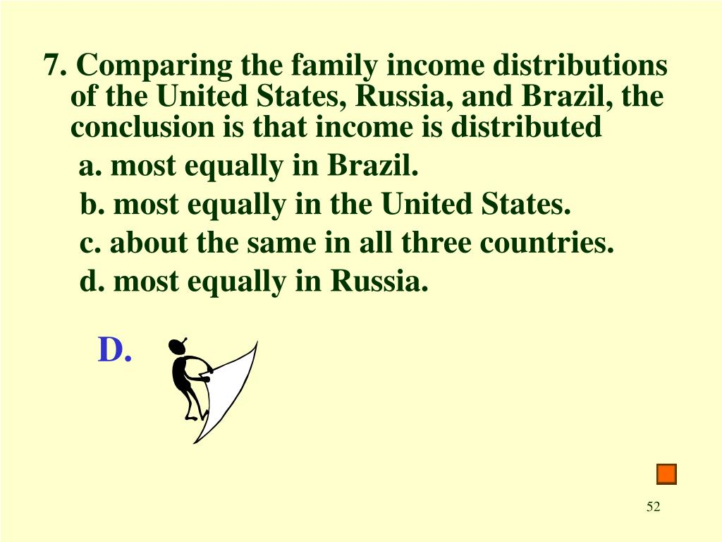 7. Comparing the family income distributions of the United States, Russia, and Brazil, the conclusion is that income is distributed