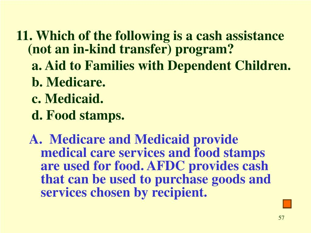 11. Which of the following is a cash assistance (not an in-kind transfer) program?