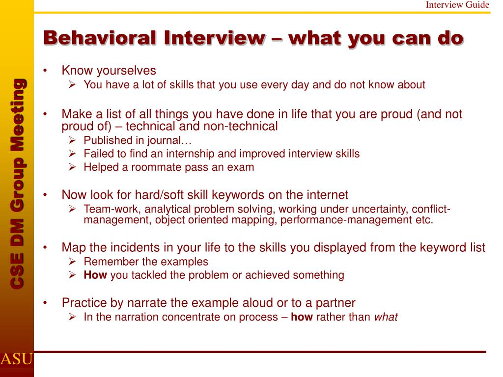 Behavioral Interview – what you can do