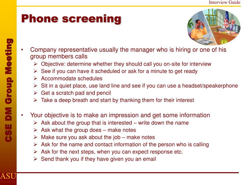Phone screening