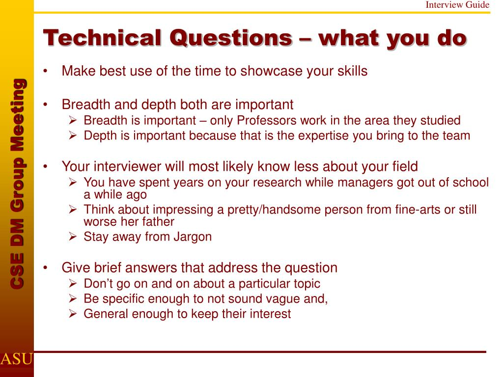 Technical Questions – what you do