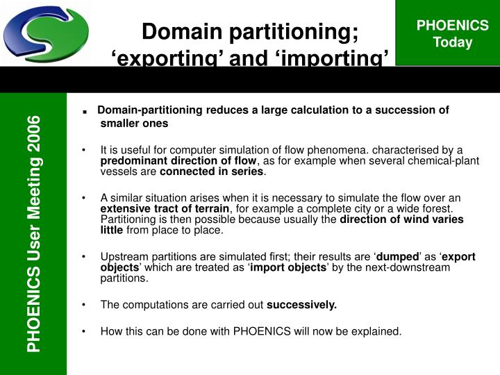 Domain partitioning exporting and importing