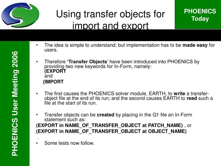 Using transfer objects for import and export