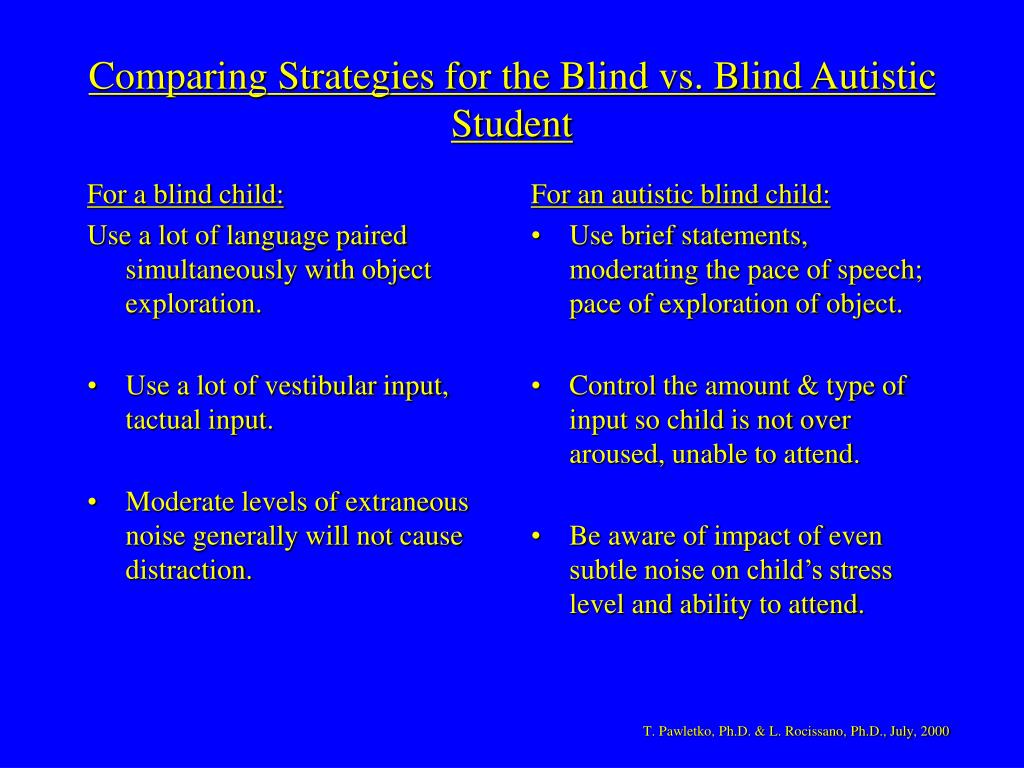 For a blind child:
