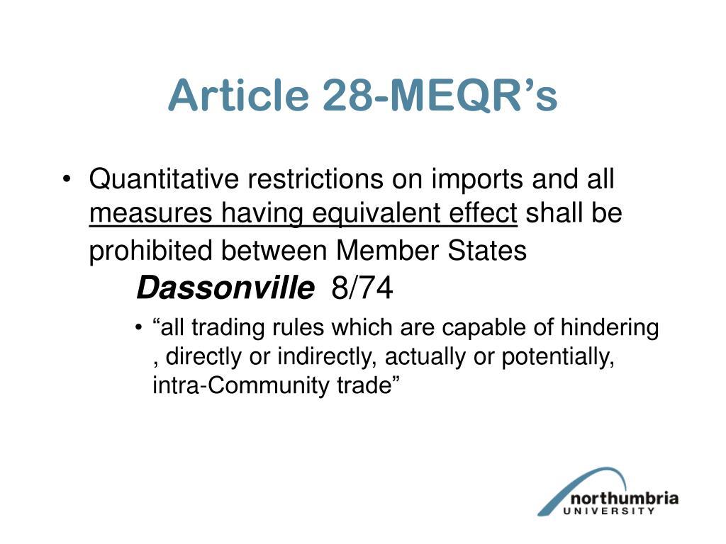 Article 28-MEQR's