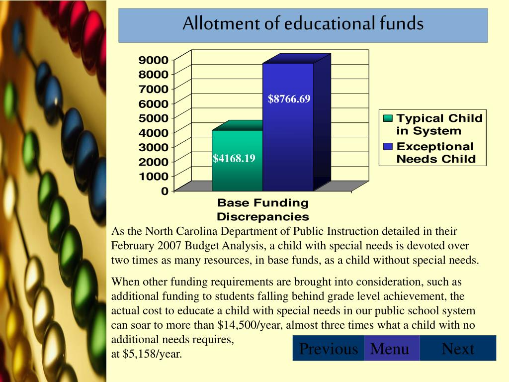 Allotment of educational funds