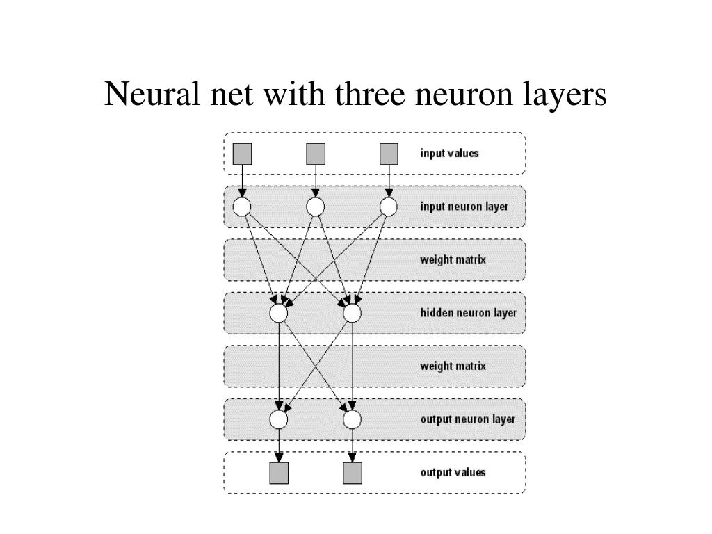 Neural net with three neuron layers