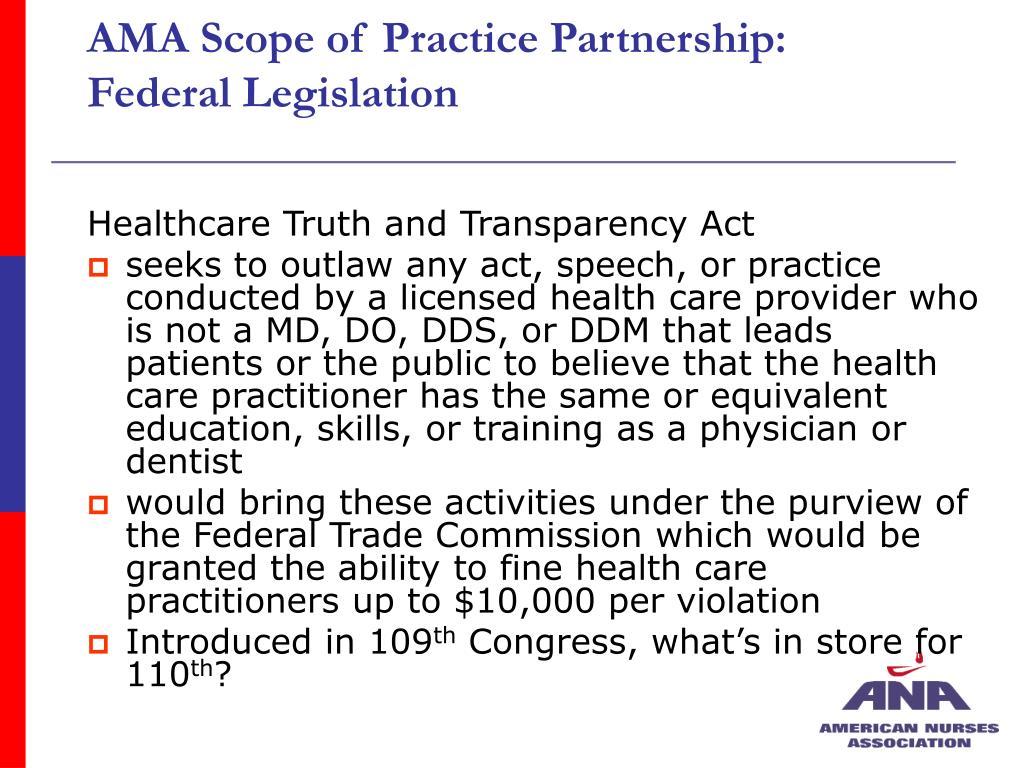 AMA Scope of Practice Partnership: Federal Legislation