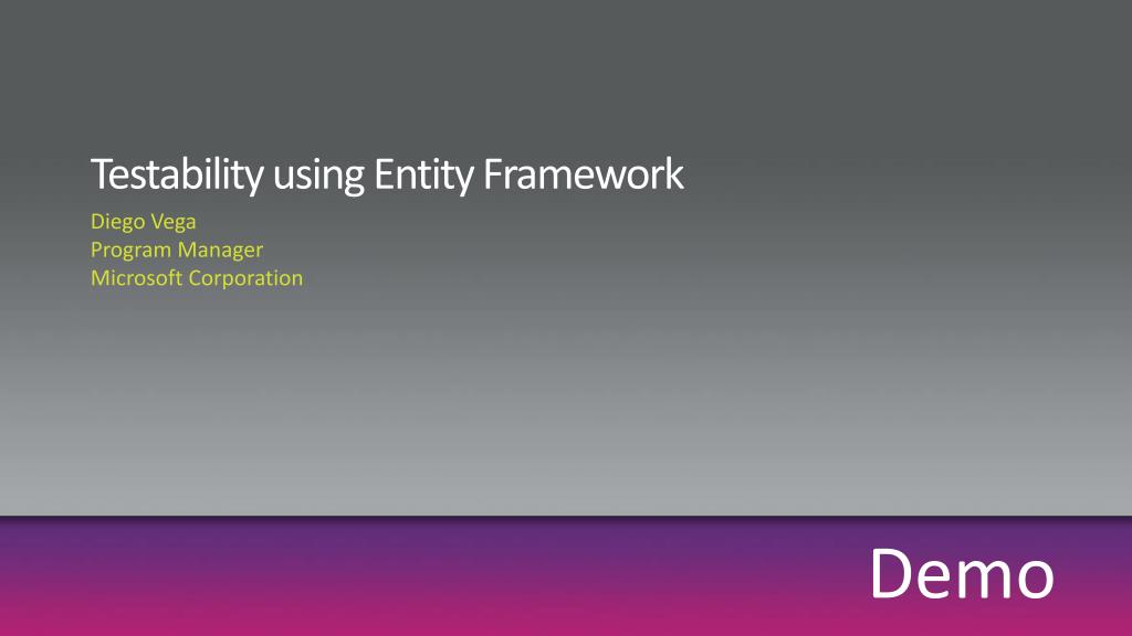 Testability using Entity Framework