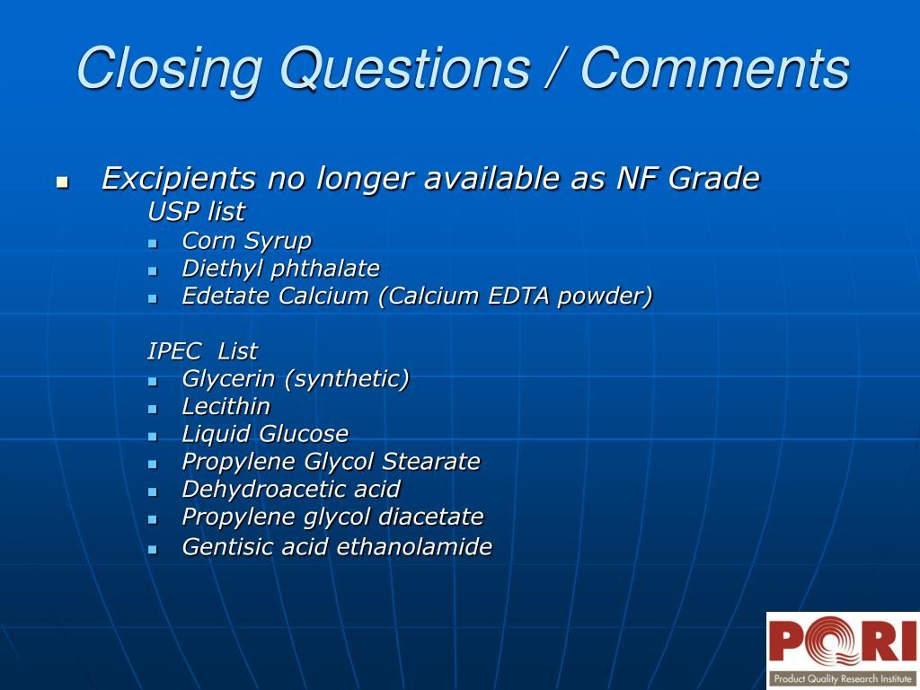 Excipients no longer available as NF Grade