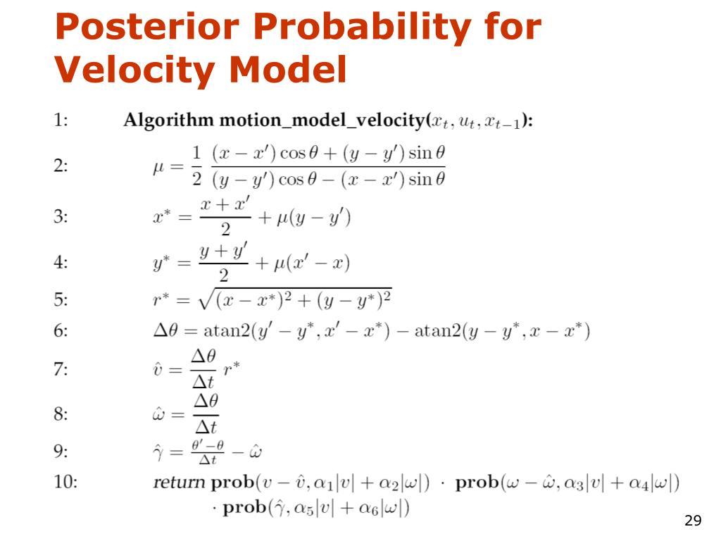 Posterior Probability for Velocity Model