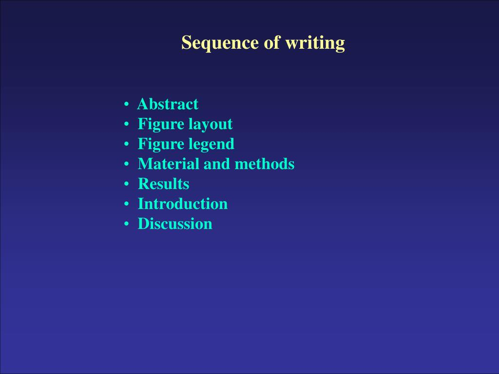 Sequence of writing