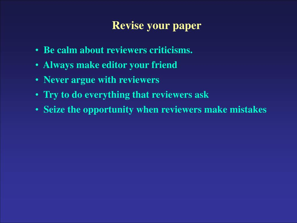 Revise your paper