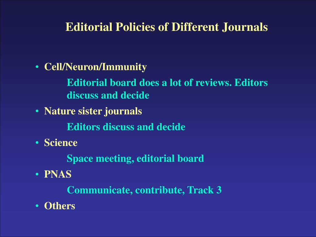 Editorial Policies of Different Journals