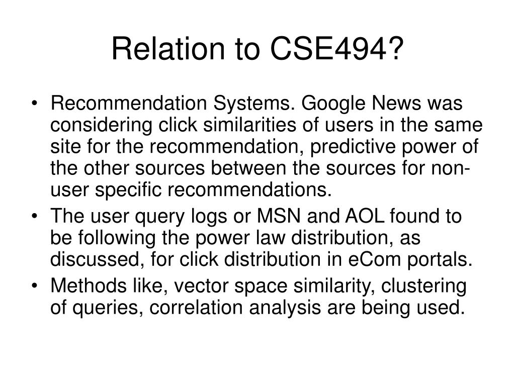 Relation to CSE494?