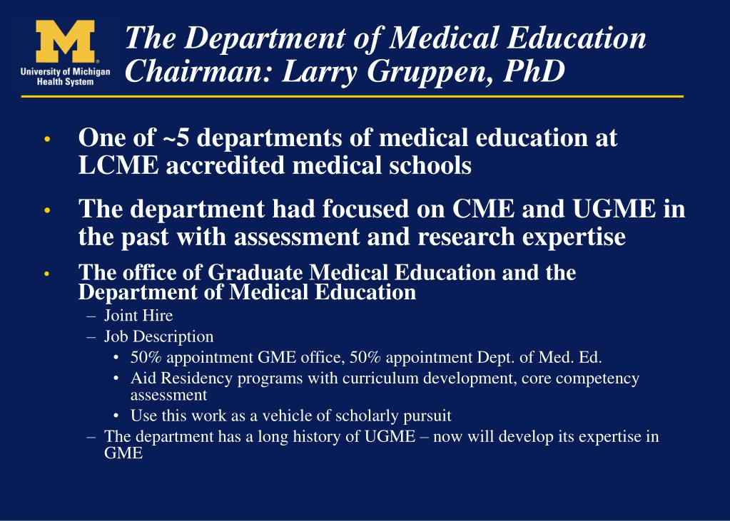 One of ~5 departments of medical education at LCME accredited medical schools