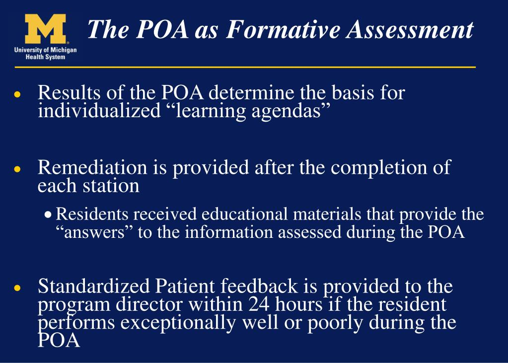"Results of the POA determine the basis for individualized ""learning agendas"""