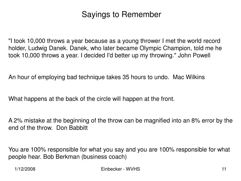 Sayings to Remember