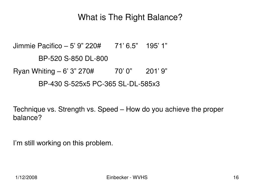 What is The Right Balance?