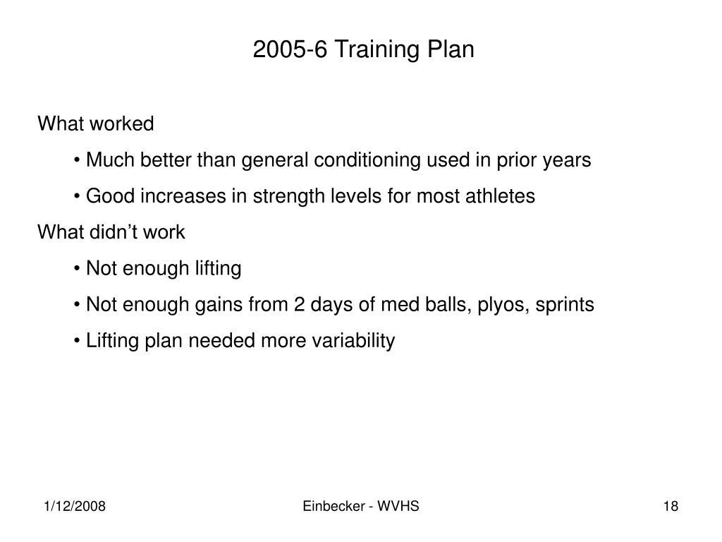 2005-6 Training Plan